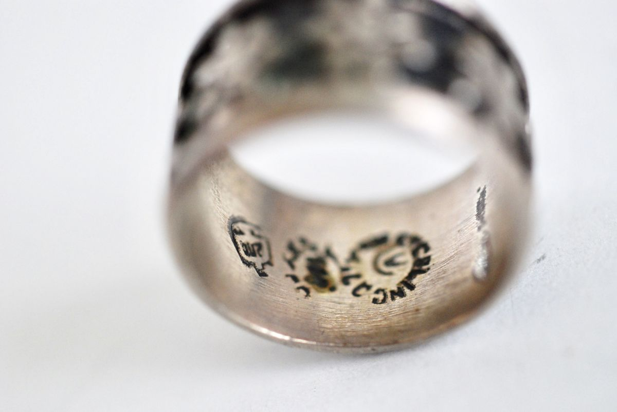 Vintage Mexican Silver Floral Band Ring size 7 - product images  of