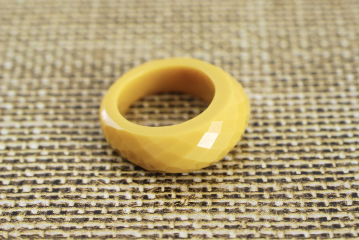 Mustard Yellow Faceted Lucite Ring size 7 1/2 - product images  of
