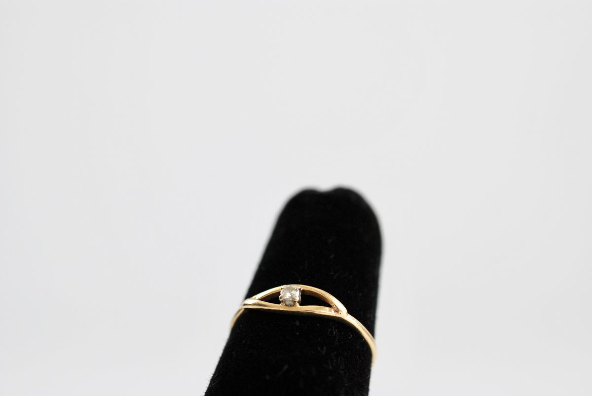 Tiny Faux Diamond Ring, 14k, Pinky Ring, Solitaire, Childs Ring size 4 - product image