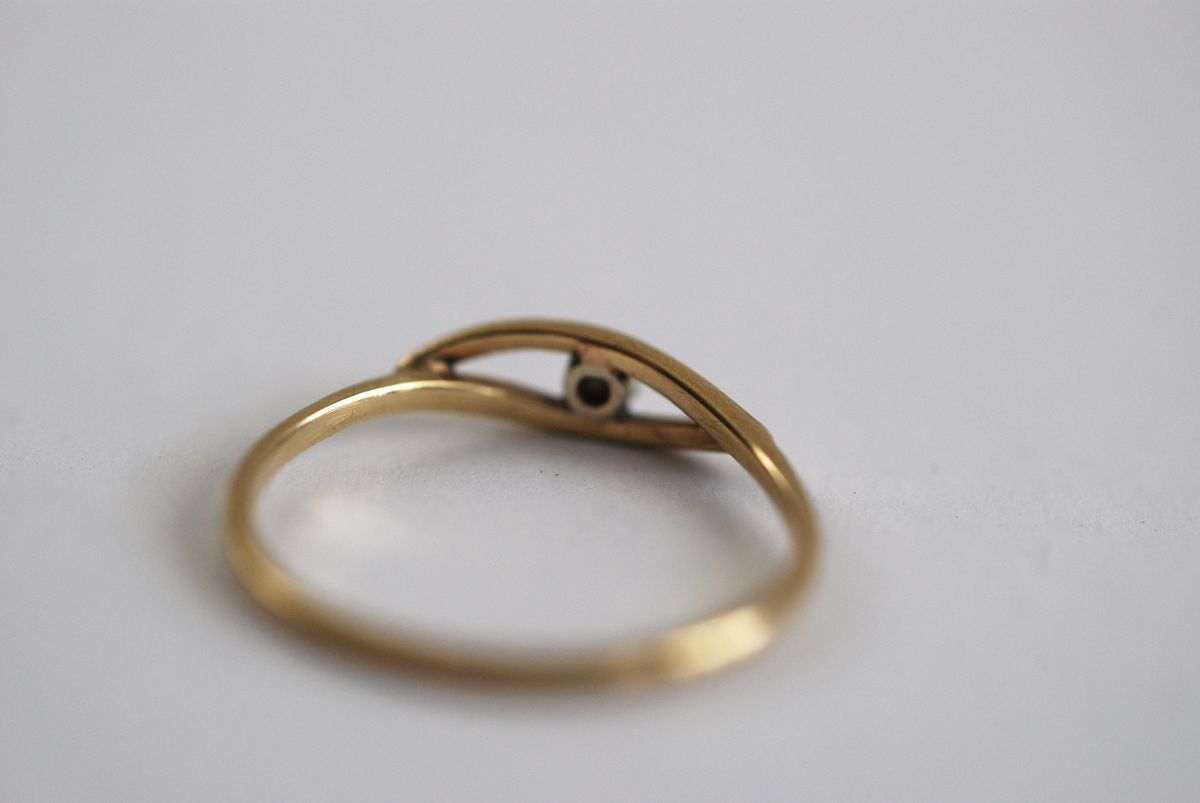 Tiny Faux Diamond Ring, 14k, Pinky Ring, Solitaire, Childs Ring size 4 - product images  of
