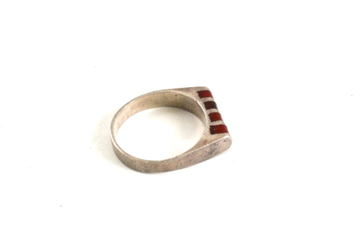 Tiny Sterling and Carnelian Pinky Ring size 4 1/2 - product image