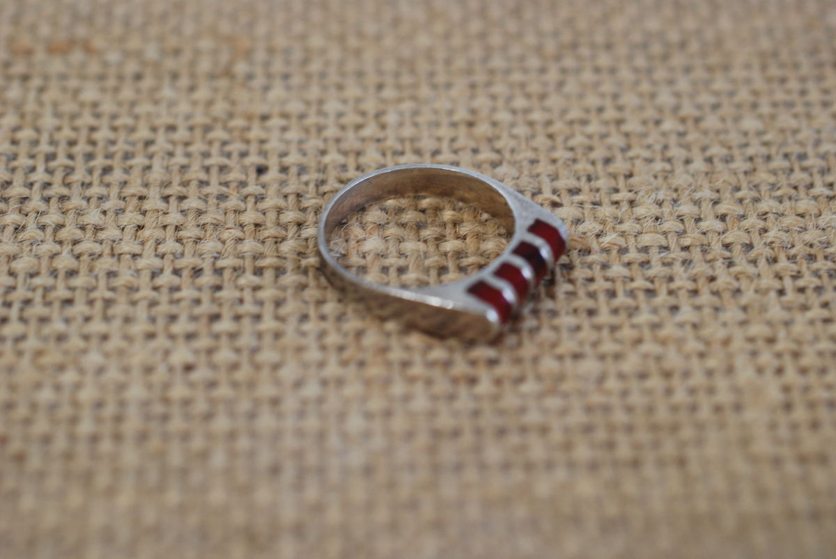 Tiny Sterling and Carnelian Pinky Ring size 4 1/2 - product images  of