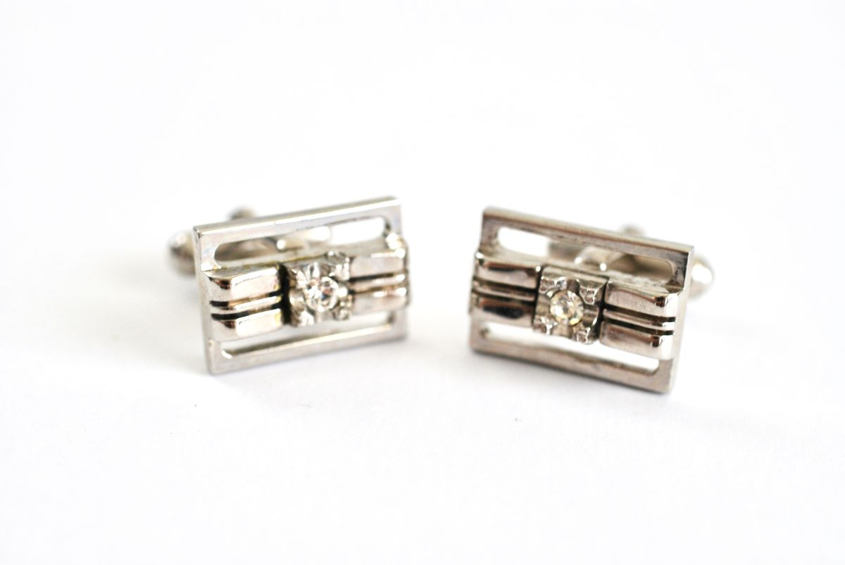Vintage Silver Tone Cuff Links with Clear Stone Center - product images  of