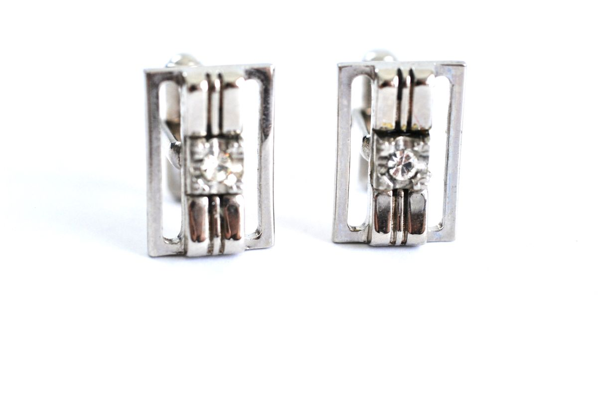Vintage Silver Tone Cuff Links with Clear Stone Center - product image