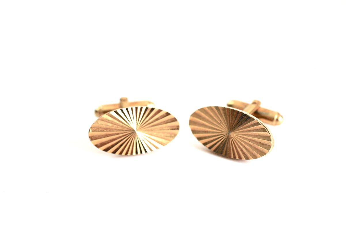Vintage Cufflinks Gold Starburst Cut Ovals - product image