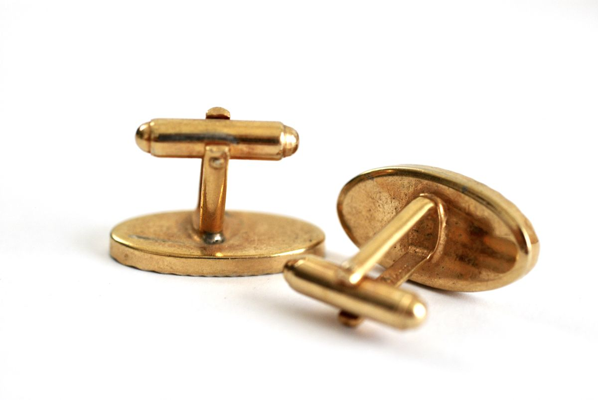 Vintage Cufflinks Gold Starburst Cut Ovals - product images  of