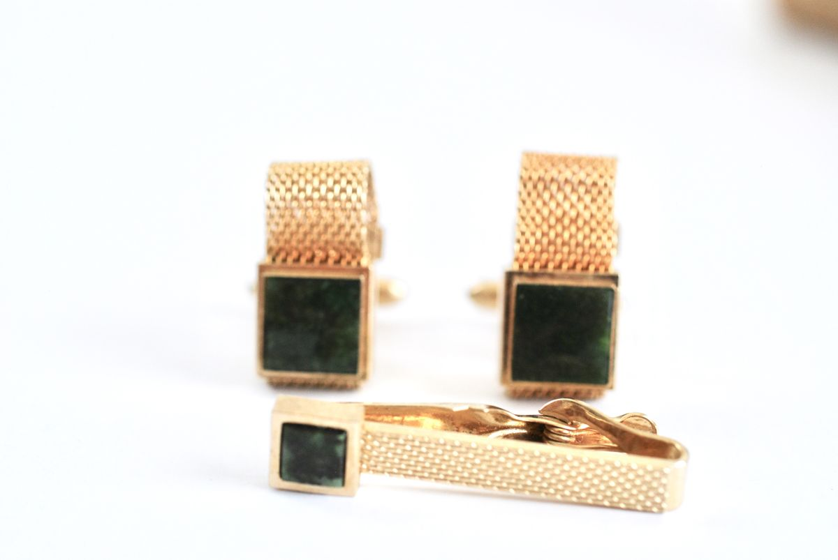 Gold Tone Mesh Cufflinks and Tie Bar Green Stone  - product images  of