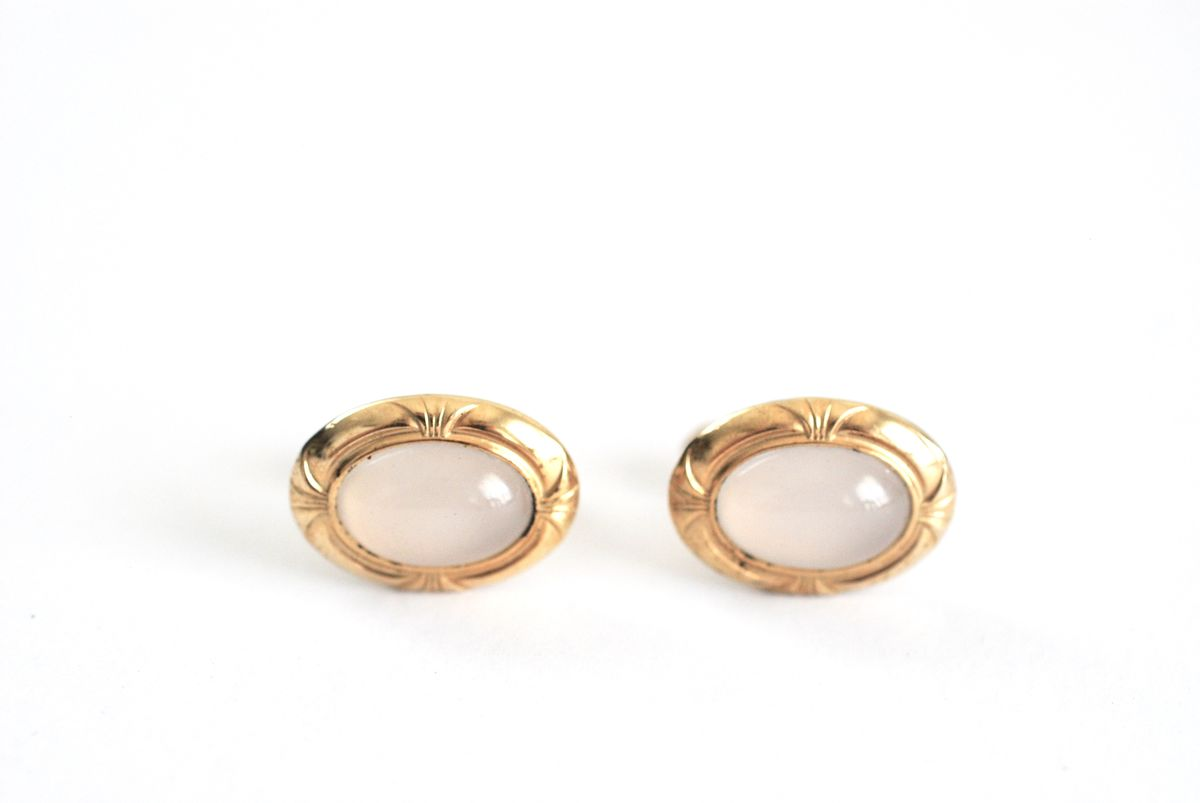 Vintage Cufflinks Moonstone Cabochon Goldtone Decorated Finish - product image