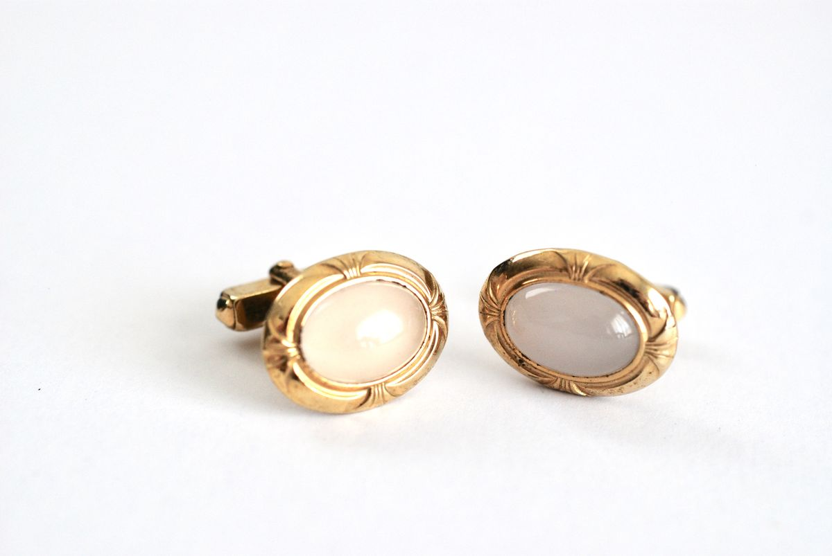 Vintage Cufflinks Moonstone Cabochon Goldtone Decorated Finish - product images  of