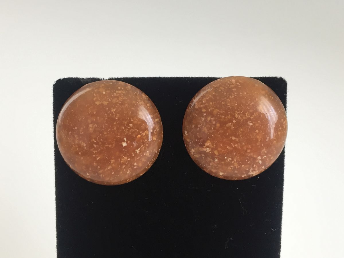 Speckled Caramel Button Earrings - product images  of