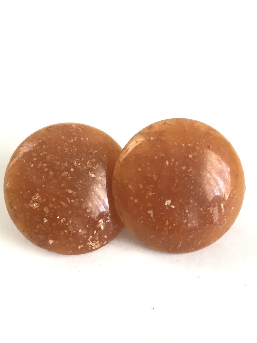 Speckled Caramel Button Earrings - product image