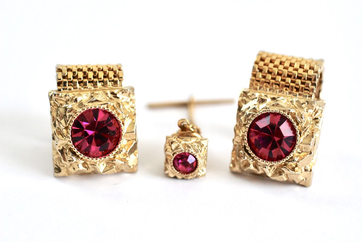 Unisex Cufflink and Tie Tack set in Hot Pink and Gold Tone - product image
