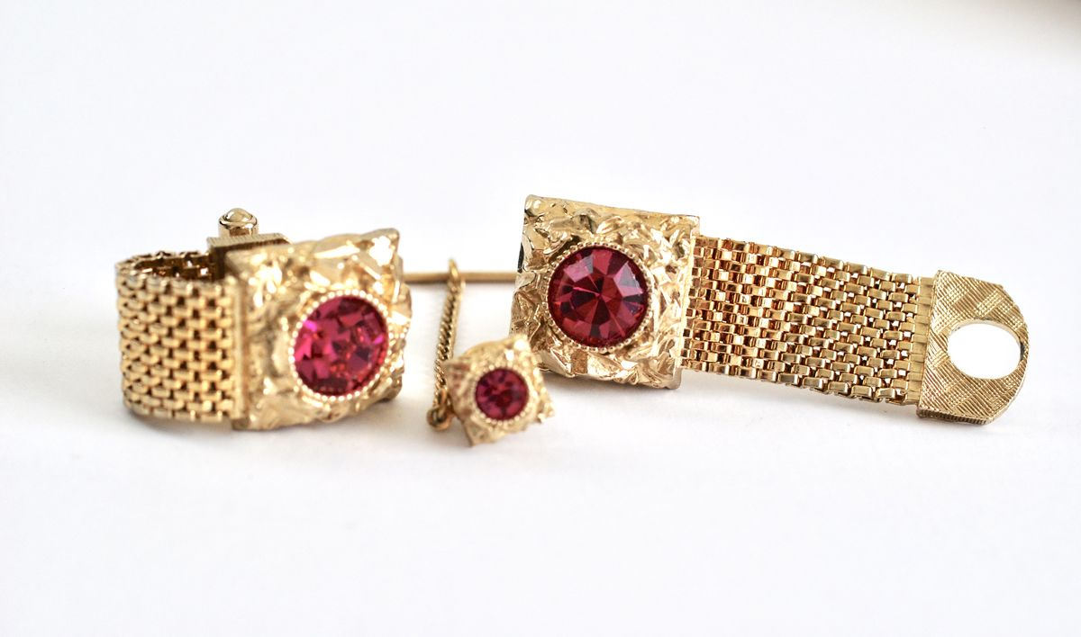 Unisex Cufflink and Tie Tack set in Hot Pink and Gold Tone - product images  of
