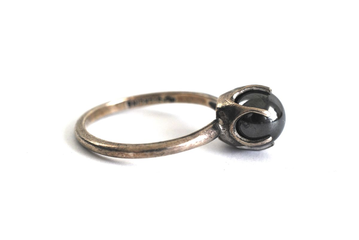 Sterling Silver Hematite Orb Ring Size 7 - product images  of