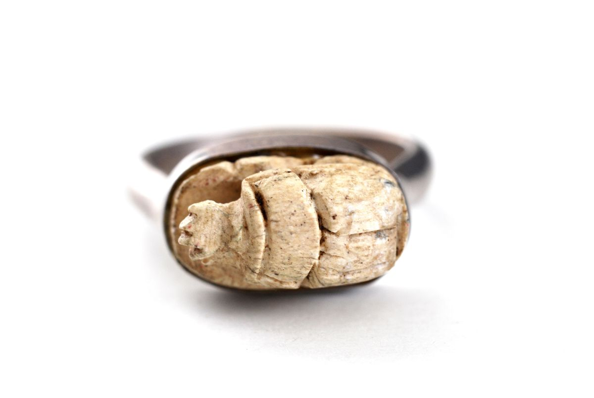 Egyptian Revival Sterling Silver Scarab Ring - product image
