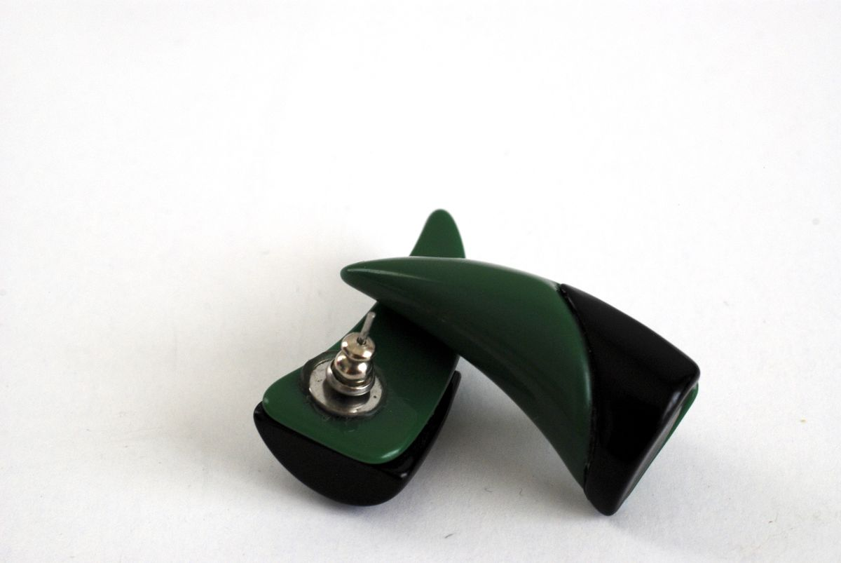 Vintage Green and Black Earrings Horn Shape Pierced - product images  of