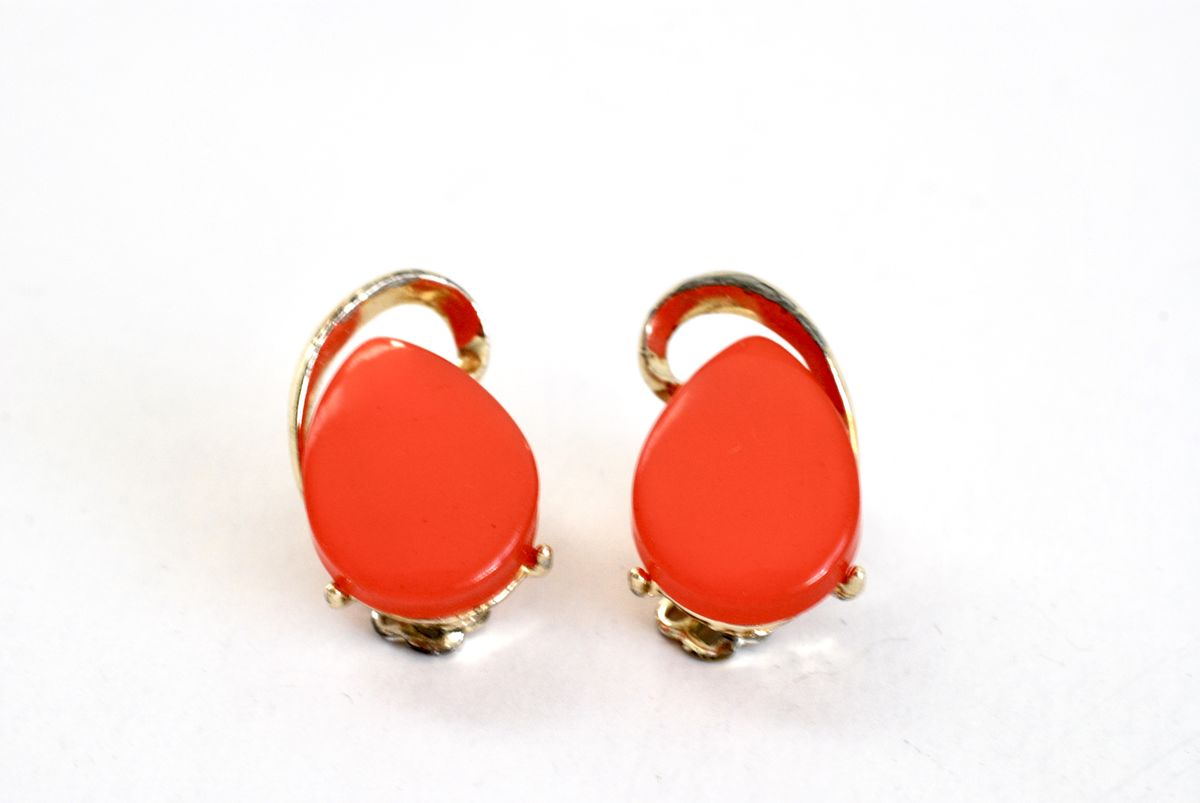 Watermelon Thermoset Earrings Vintage 1060's Gold Tone Clip Ons - product images  of
