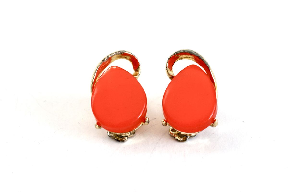 Watermelon Thermoset Earrings Vintage 1060's Gold Tone Clip Ons - product image