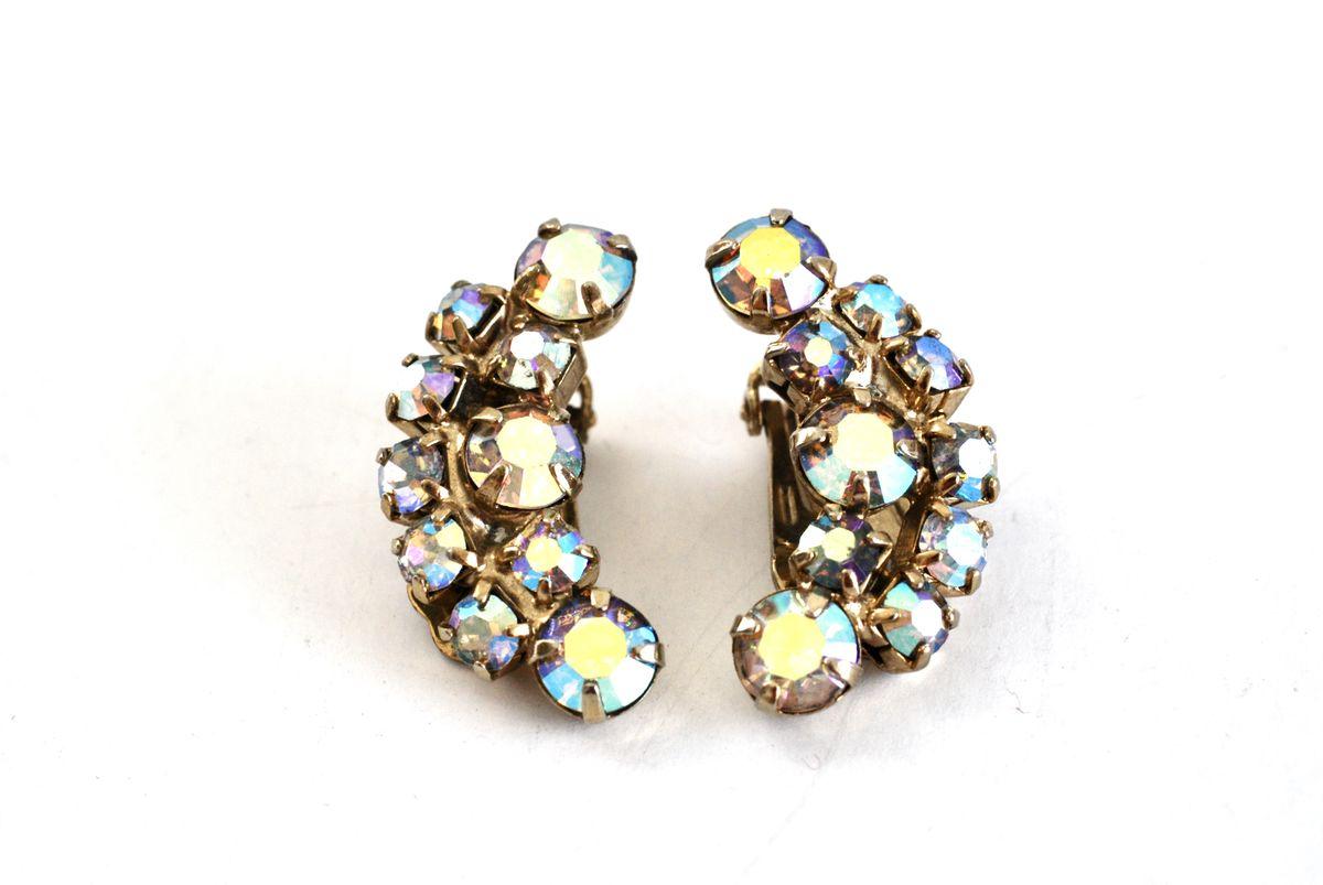 432275b244154 Vintage Crystal AB Rhinestone Clip On Earrings - Vintage Renude