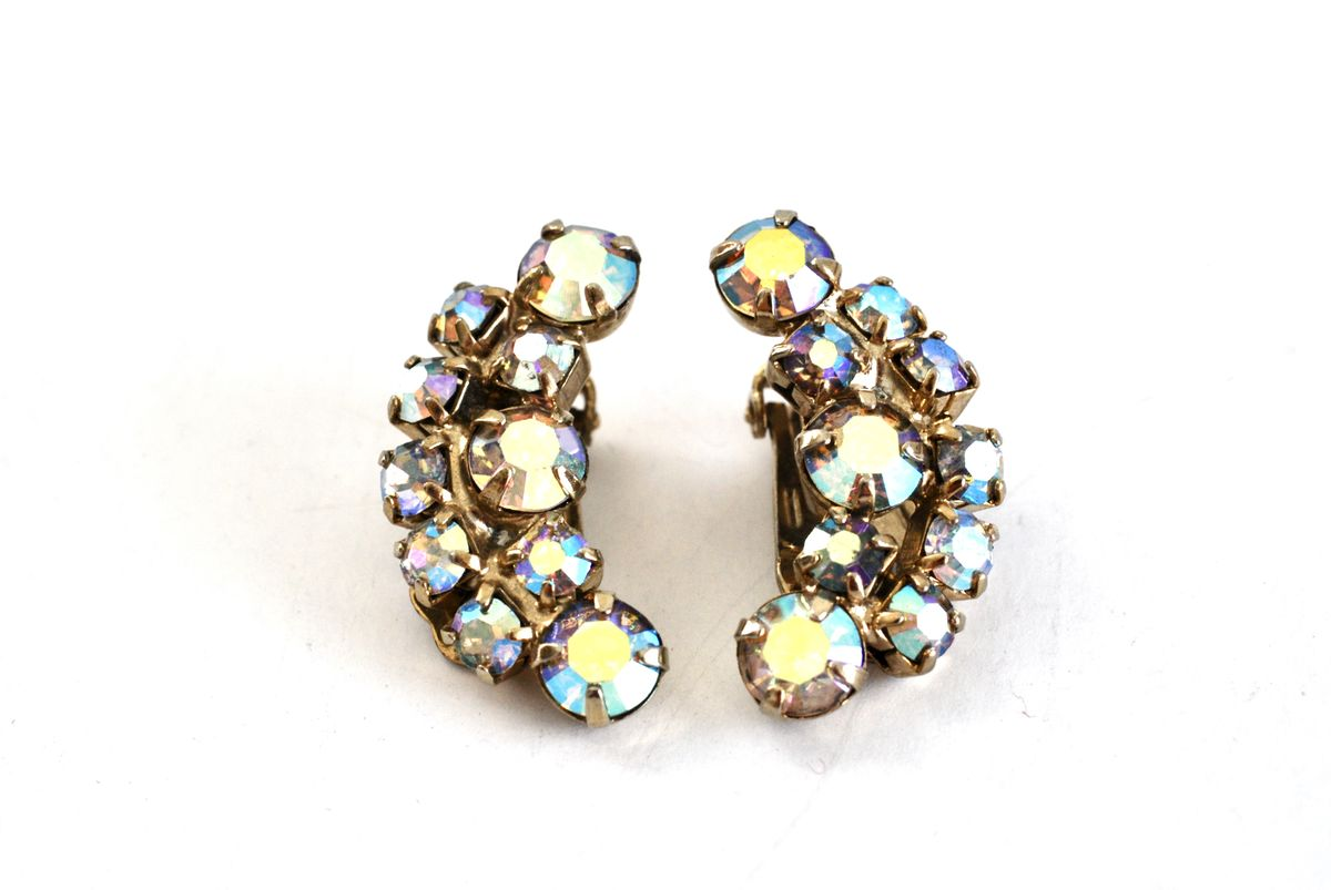 Vintage Crystal AB Rhinestone Clip On Earrings - product image