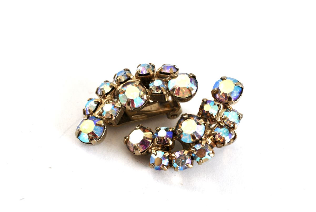 Vintage Crystal AB Rhinestone Clip On Earrings - product images  of