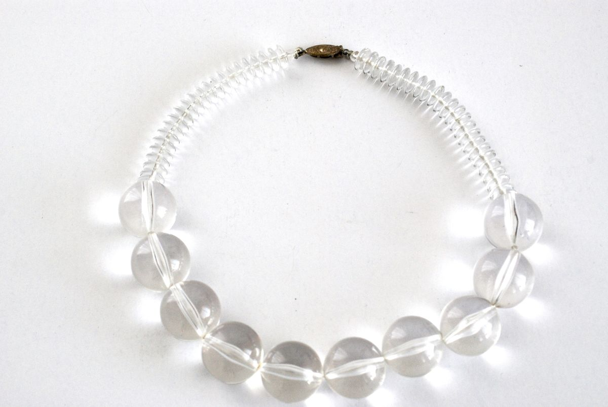 Chunky Clear Lucite Bead Necklace - product images  of