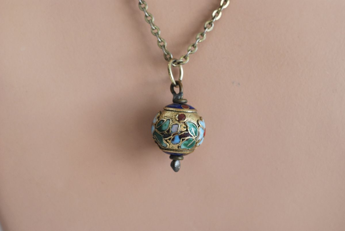 Vintage Brass Champleve Pendant Necklace - product image