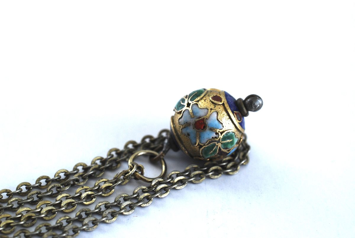 Vintage Brass Champleve Pendant Necklace - product images  of