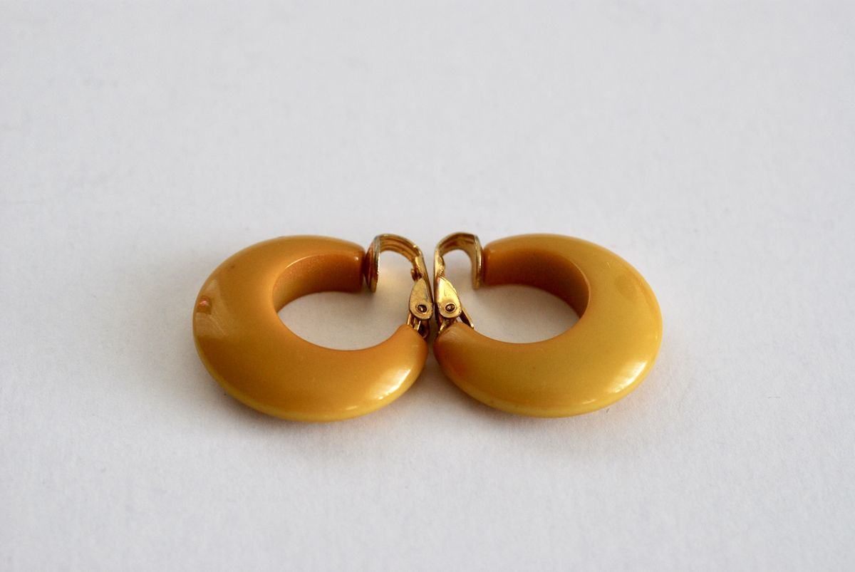 Vintage Bakelite Earrings in Butterscotch Wide Chunky Clip ons - product images  of