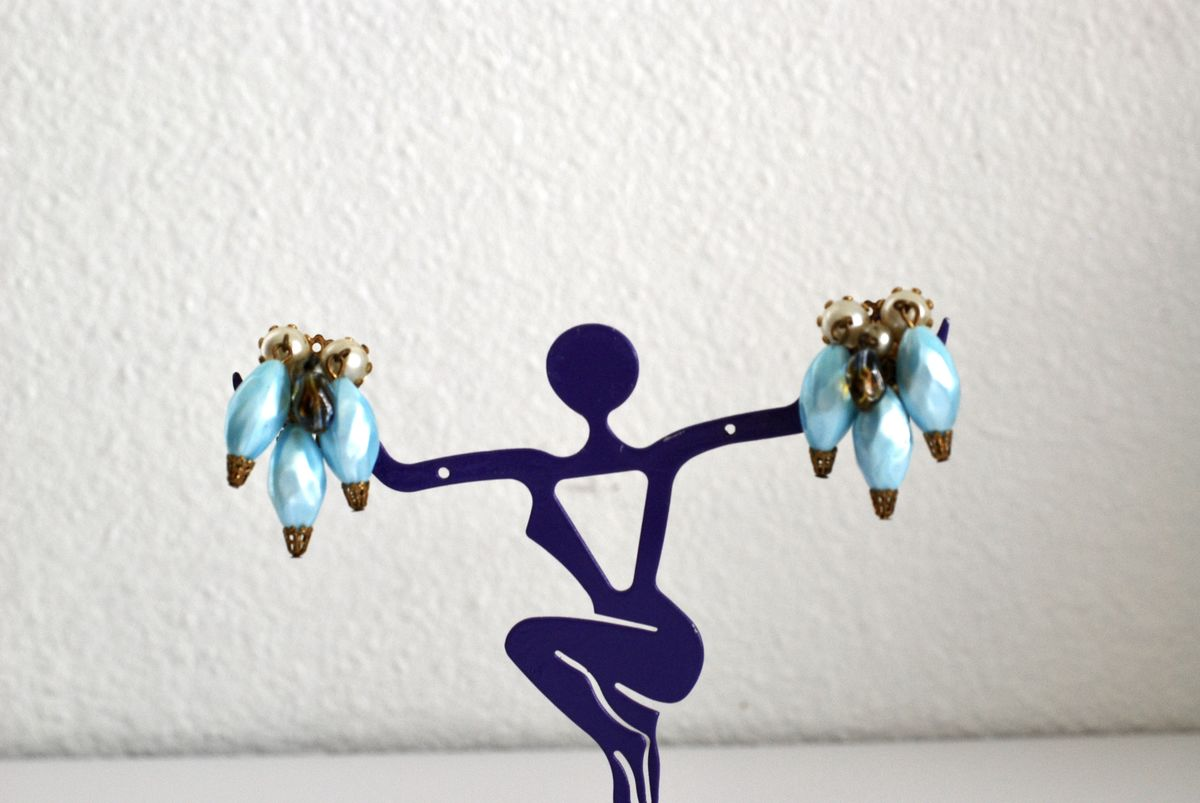 Vintage Baby Blue Dangle Earrings Clip Ons 1950's - product images  of