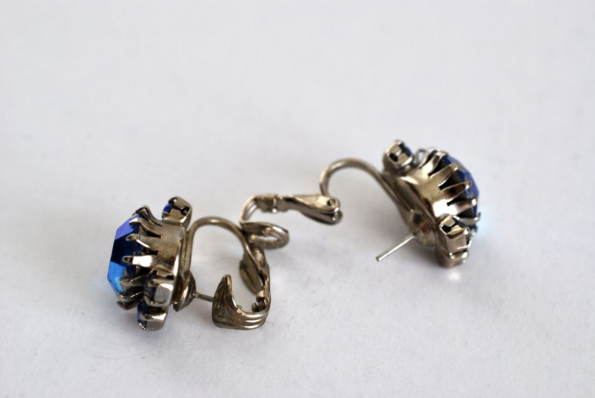 Chunky Blue AB Rhinestone Earrings Pierced - product images  of