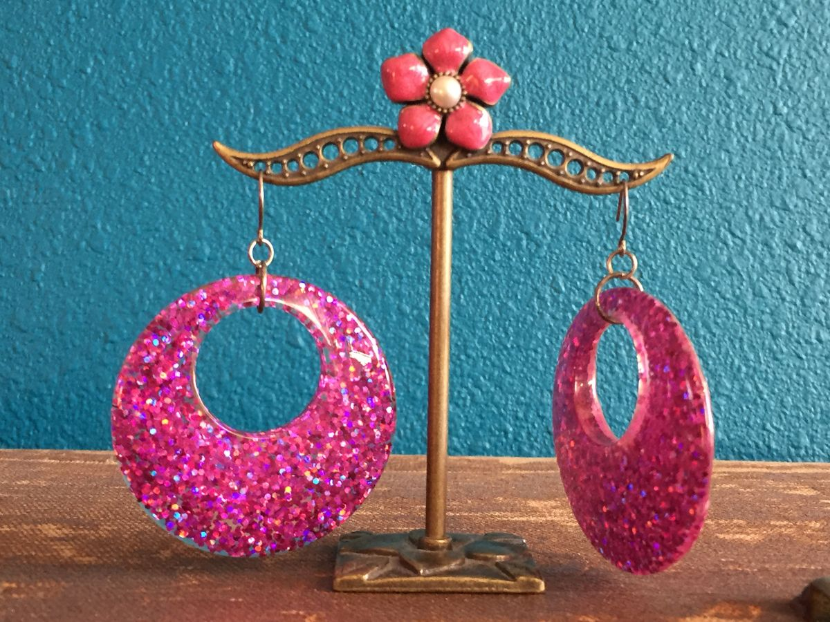 Bright Pink Glitter Confetti Large Hoop Earrings - product image