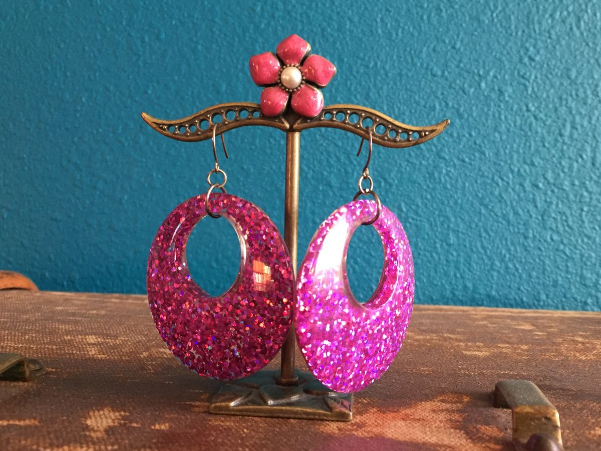 Bright Pink Glitter Confetti Large Hoop Earrings - product images  of