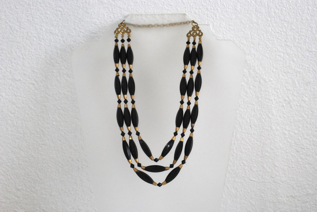Brass and Black Three Strand Necklace - product image