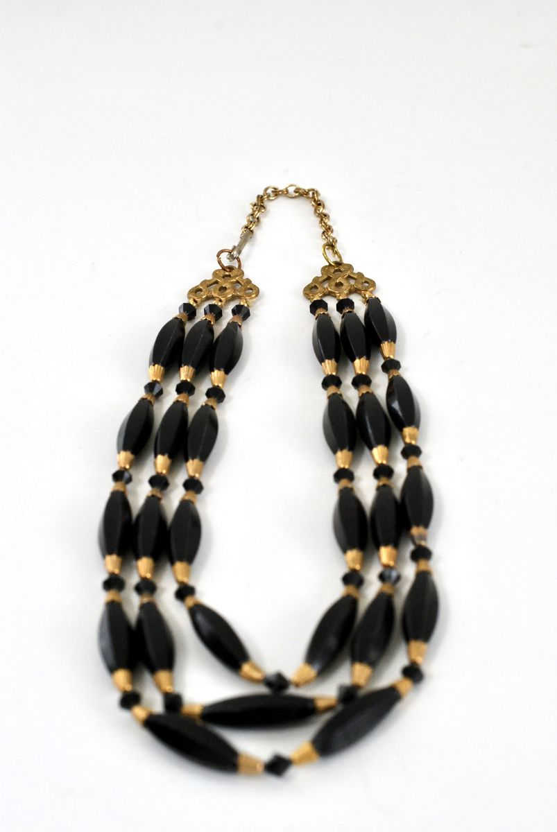 Brass and Black Three Strand Necklace - product images  of