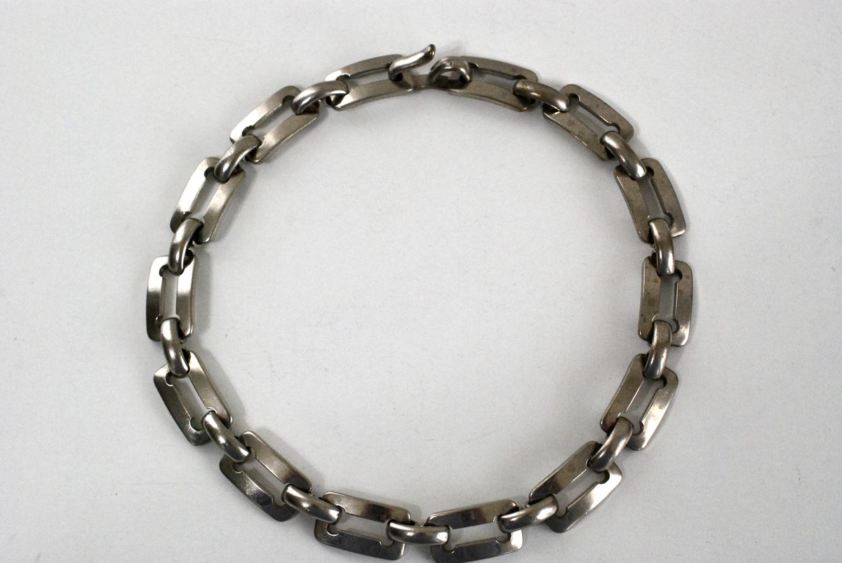 Vintage Chunky Steel Link Choker Necklace - product image