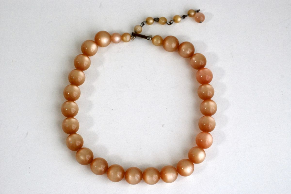 Vintage Peach Moonglow Thermoset Bead Choker Necklace - product images  of