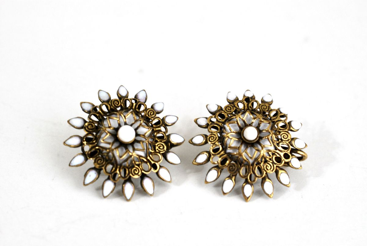 Vintage Earrings Brass Filigree with White Enamel Clip Ons - product image