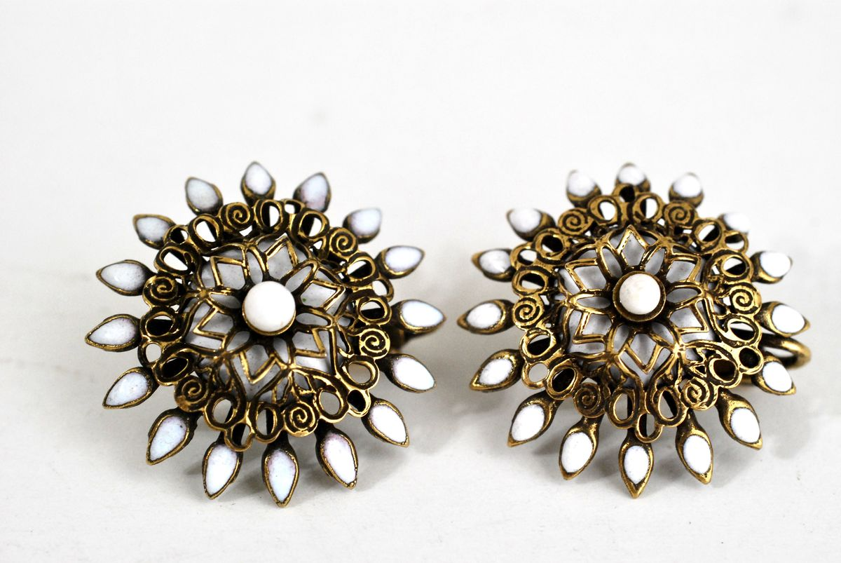 Vintage Earrings Brass Filigree with White Enamel Clip Ons - product images  of
