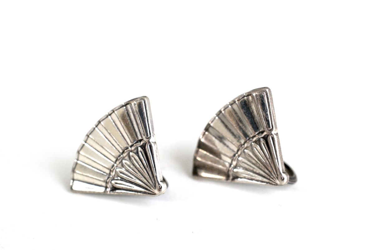 Sterling Silver Fan Earrings Screw Back Antique Jewelry - product image