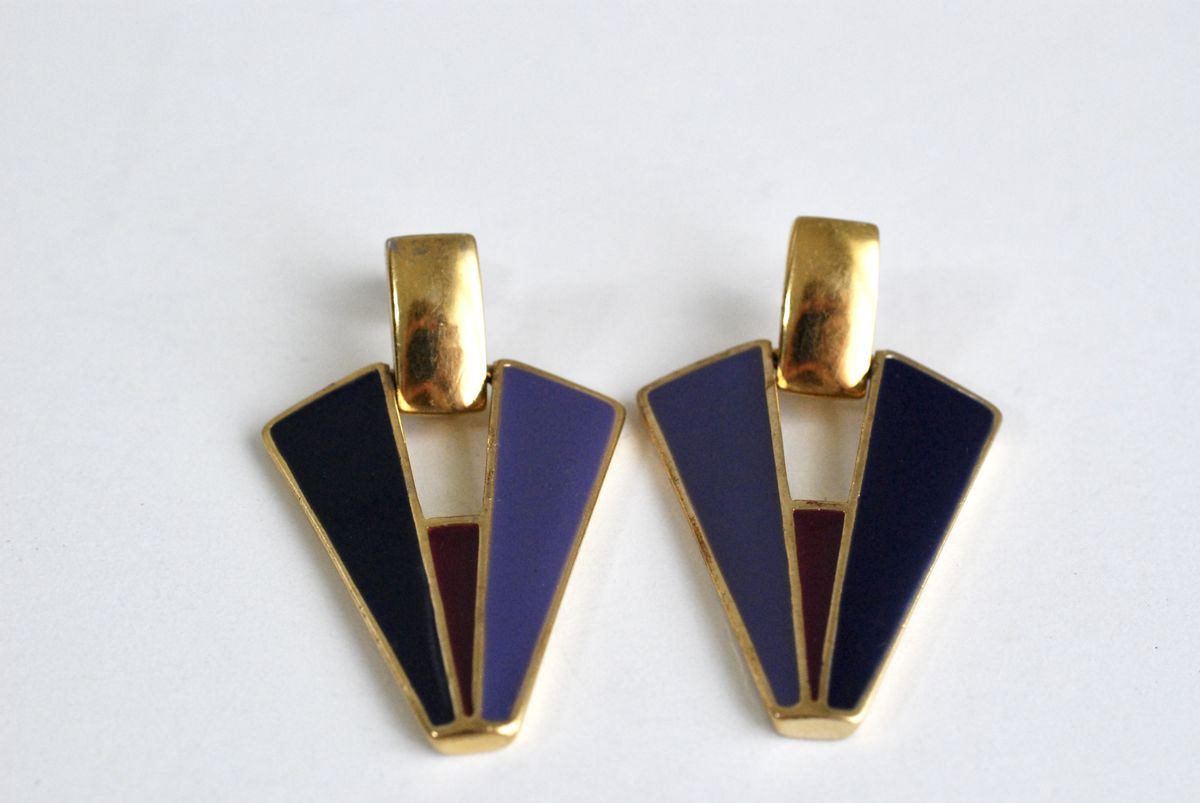 Vintage Trifari 1980's Enamel Earrings - product images  of