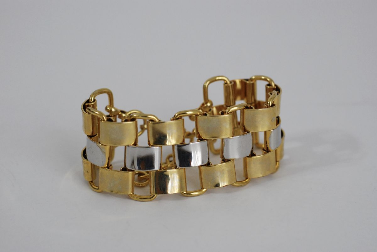 Large Two Tone Panther Link Bracelet - product images  of