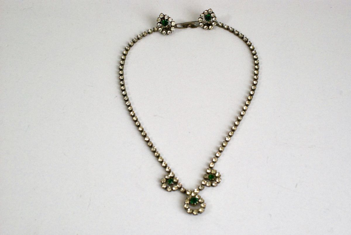 Rhinestone Necklace and Earrings Clear and Green - product image