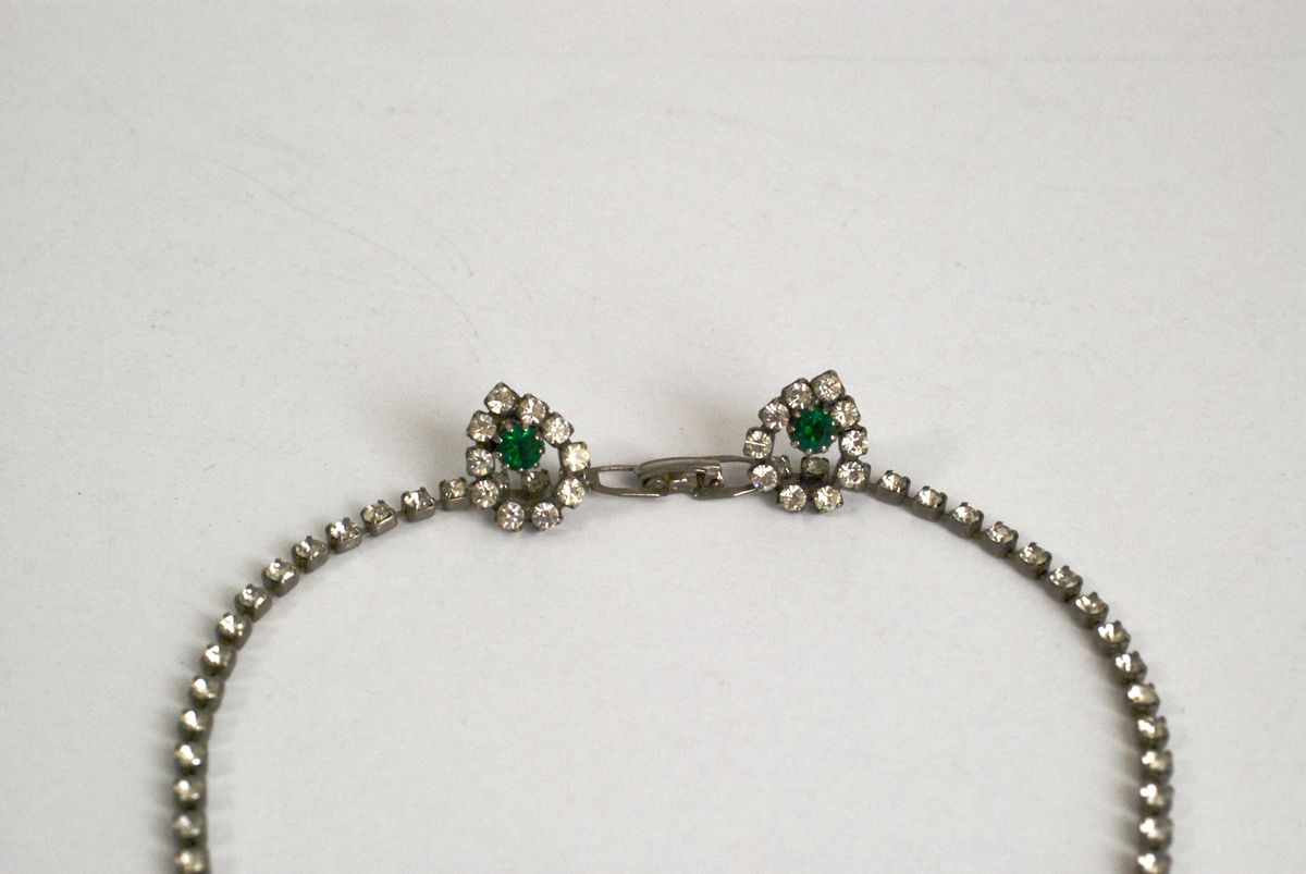 Rhinestone Necklace and Earrings Clear and Green - product images  of