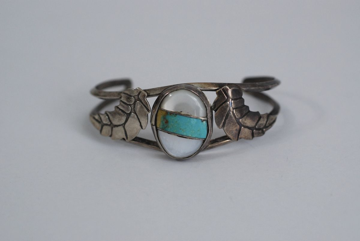 Vintage Silver Turquoise and Mother of Pearl Bracelet - product images  of