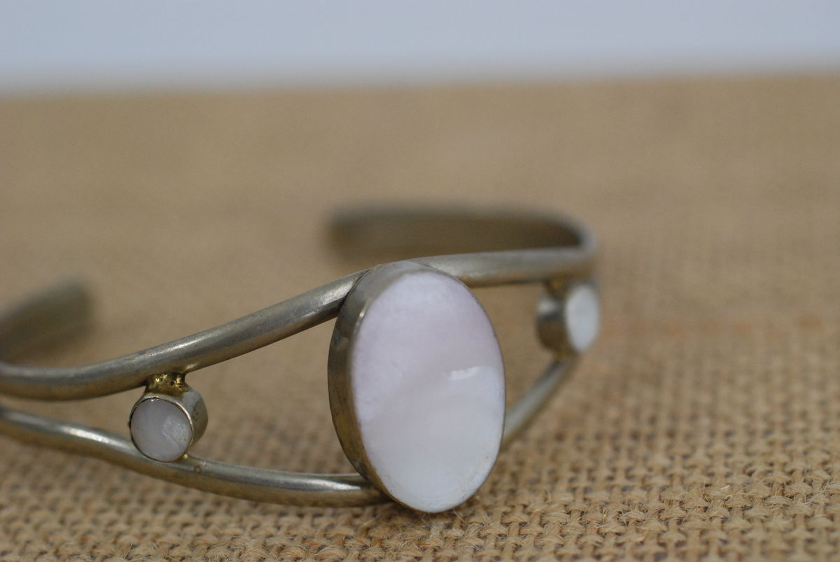 Mexican Silver and Pink Quartz Bracelet Adjustable Cuff - product images  of