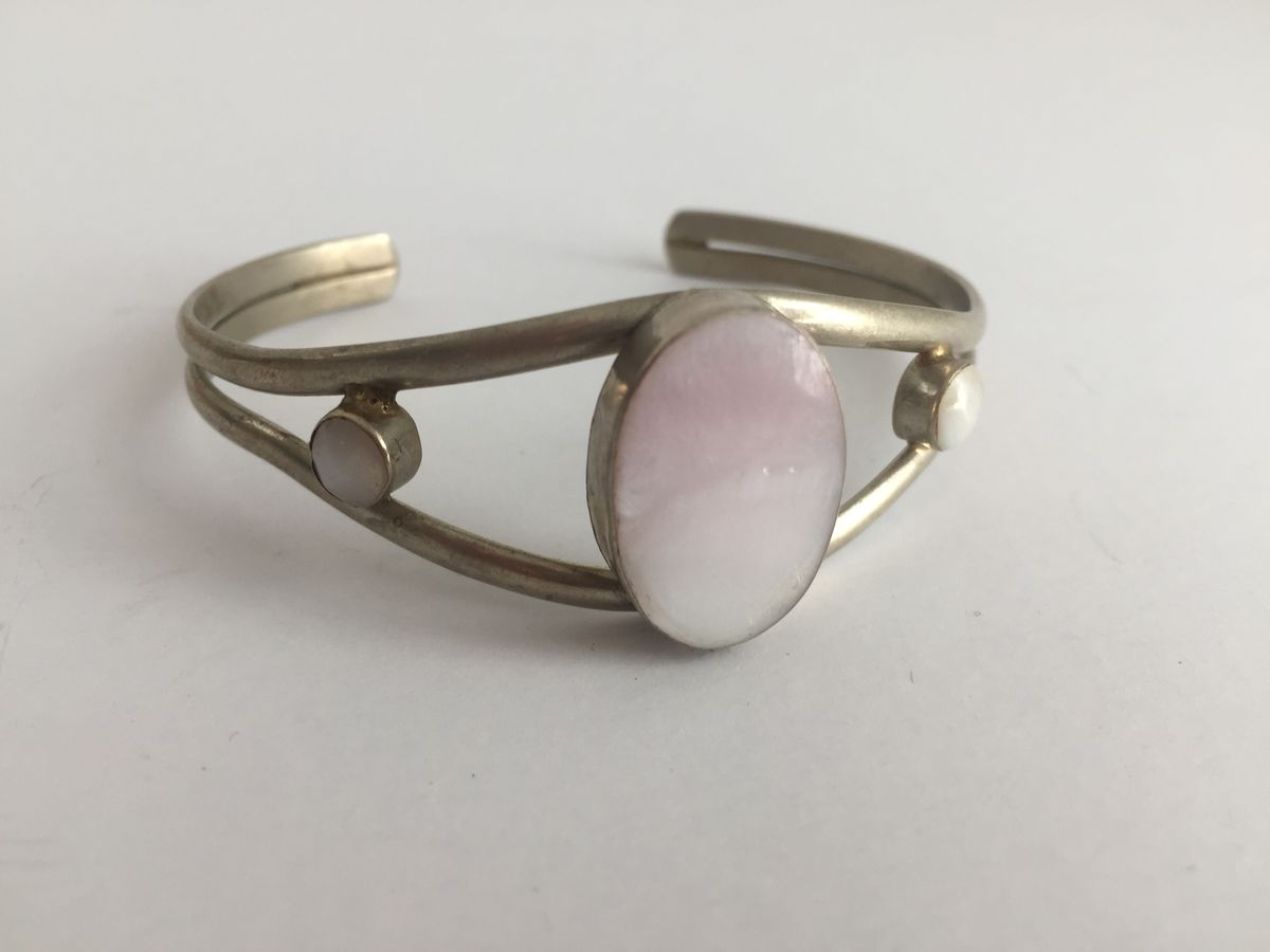 Mexican Silver and Pink Quartz Bracelet Adjustable Cuff - product image