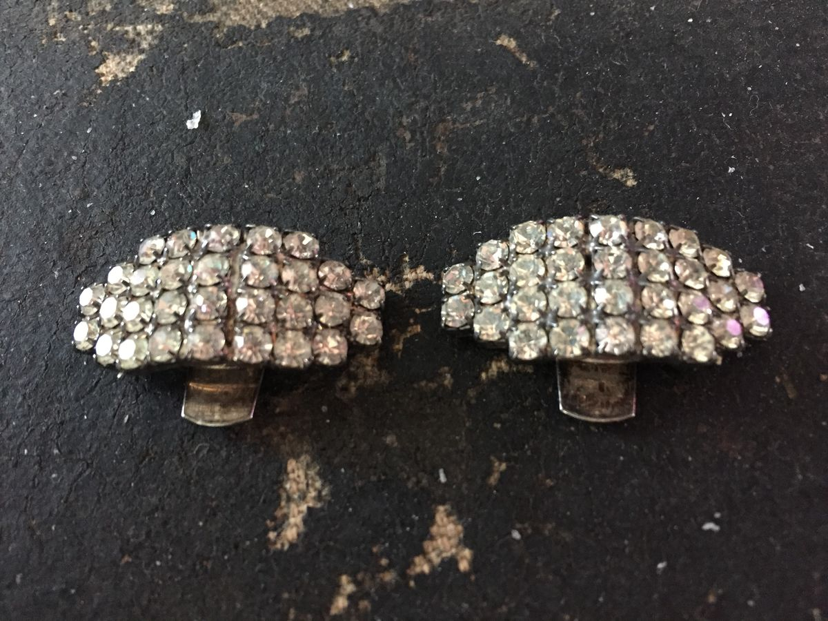 Small Vintage Rhinestone Shoe Clips - product images  of
