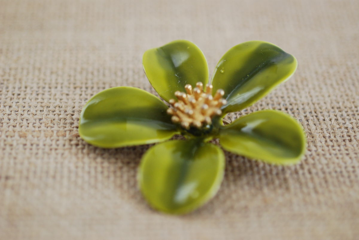 Vintage Enamel Flower Brooch Green and Gold - product images  of