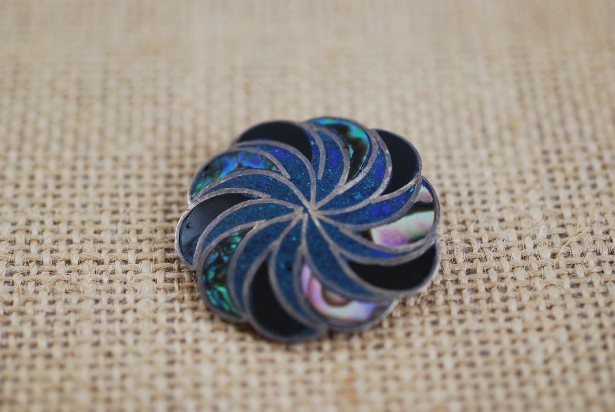 Vintage Taxco Sunburst Brooch/Pendant in Crushed Turquoise, Abalone, Onyx - product images  of